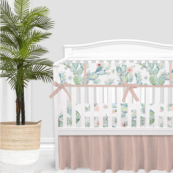 Boho Cactus and Blush Pink Baby Crib Skirt
