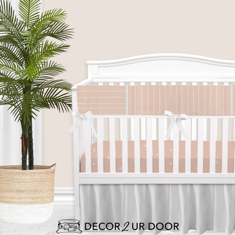 Ballet Pink Bone Stripes 2-in-1 Crib Bumper/Rail Cover