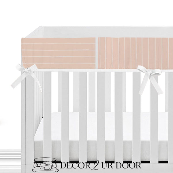 Ballet Pink Bone Stripes Baby Crib Rail Cover