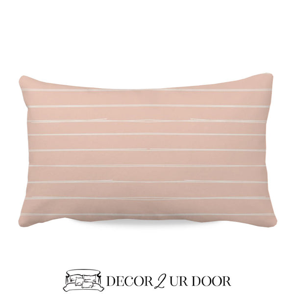 Ballet Pink Bone Stripes Lumbar Nursery Throw Pillow Cover