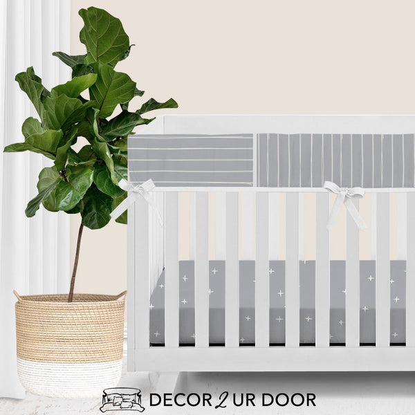 Blue Metal Bone Stripes Bumperless Crib Bedding Set