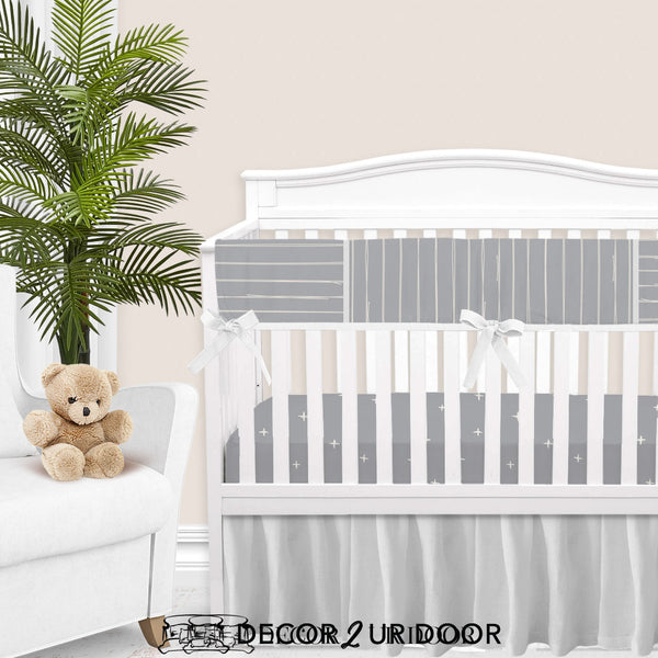 Blue Metal Bone Stripes Gender Neutral Baby Bedding Set