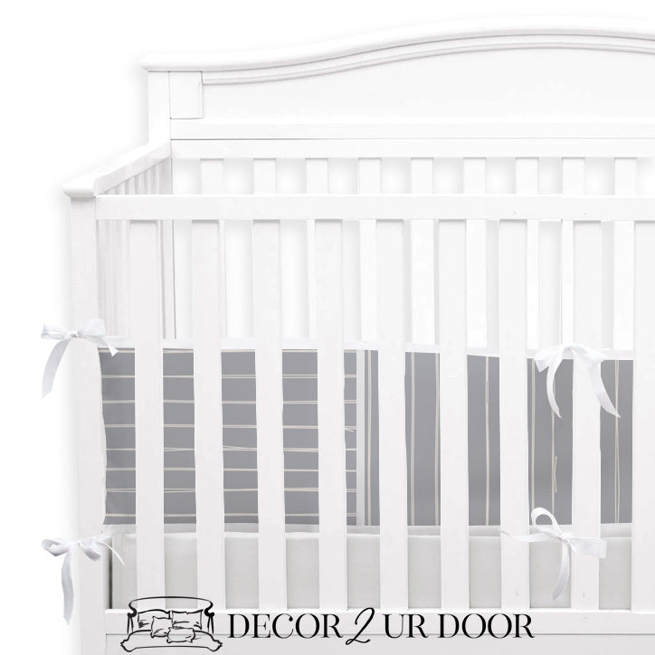 Blue Metal Bone Stripes 2-in-1 Crib Bumper/Rail Cover