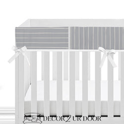 Blue Metal Bone Stripes Baby Crib Rail Cover