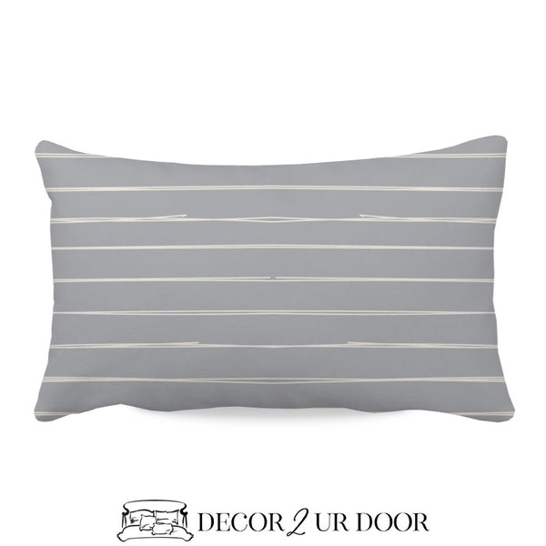 Blue Metal Bone Stripes Lumbar Nursery Throw Pillow Cover