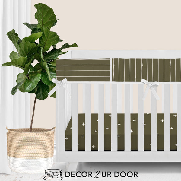 Dark Khaki Bone Stripes Bumperless Crib Bedding Set