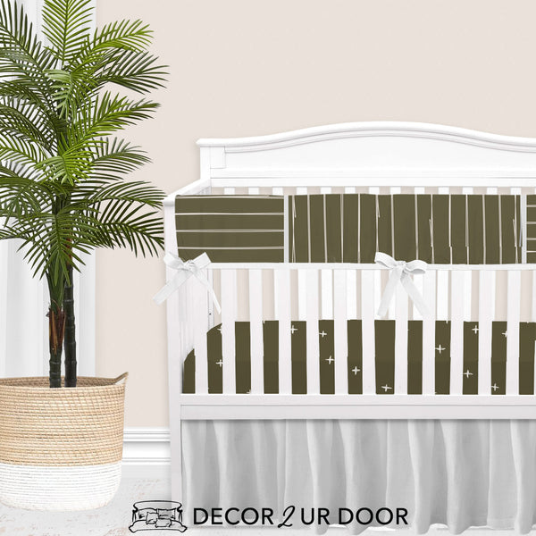 Dark Khaki Bone Stripes Gender Neutral Baby Bedding Set