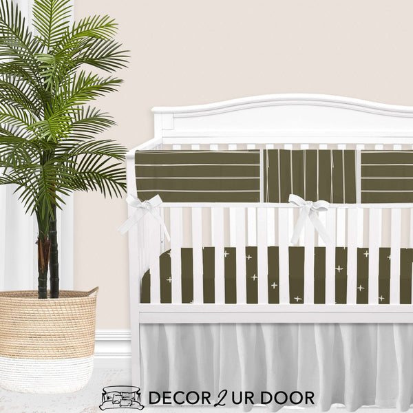 Dark Khaki Bone Stripes Baby Crib Rail Cover