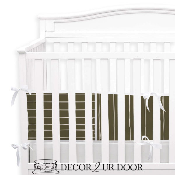 Dark Khaki Bone Stripes 2-in-1 Crib Bumper/Rail Cover
