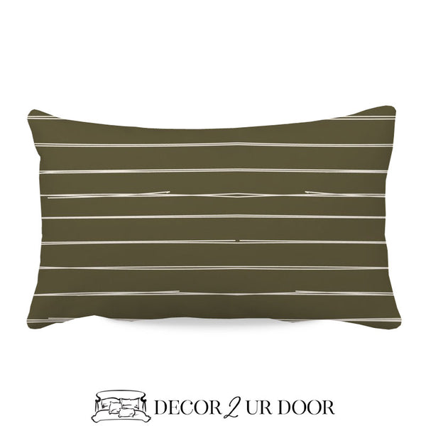 Dark Khaki Bone Stripes Lumbar Nursery Throw Pillow Cover