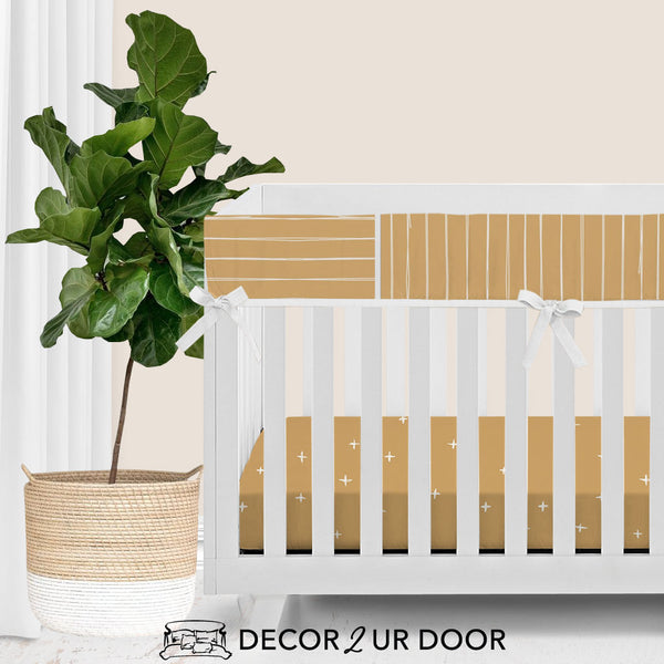 Mustard Gold Bone Stripes Baby Crib Rail Cover