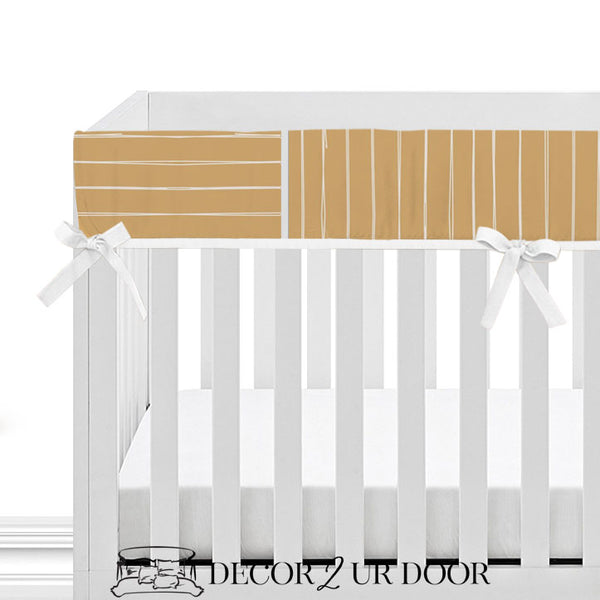 Mustard Gold Bone Stripes 2-in-1 Crib Bumper/Rail Cover