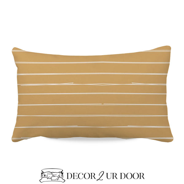 Mustard Gold Bone Stripes Lumbar Nursery Throw Pillow Cover