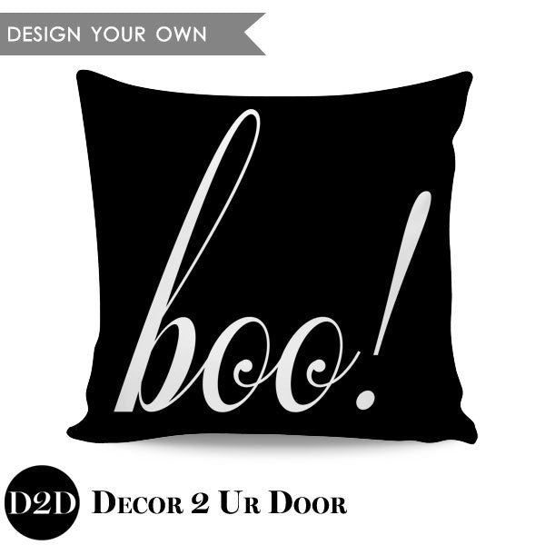 Boo! Square Throw Pillow Cover