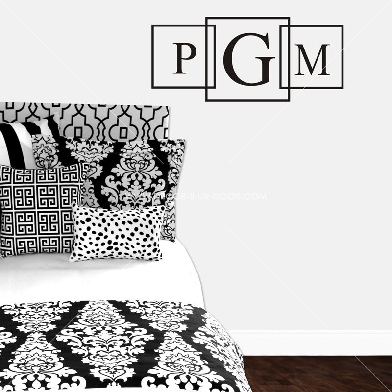 Boxed Initials Monogram Personalized Vinyl Wall Decal