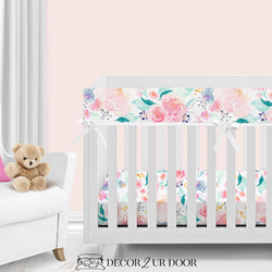 Bright & Beautiful Watercolor Floral Bumperless Crib Bedding Set