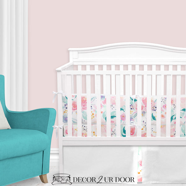Bright & Beautiful Watercolor Floral Baby Girl Crib Bedding Set