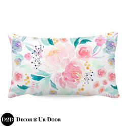 Bright & Beautiful Watercolor Floral Lumbar Nursery Throw Pillow Cover