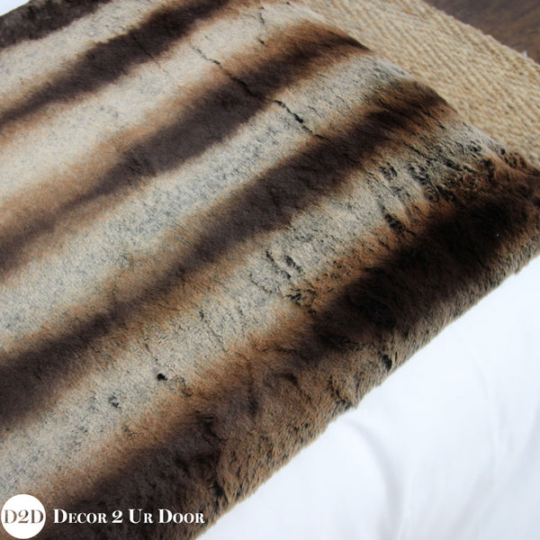Brown Fur Designer Bed Scarf
