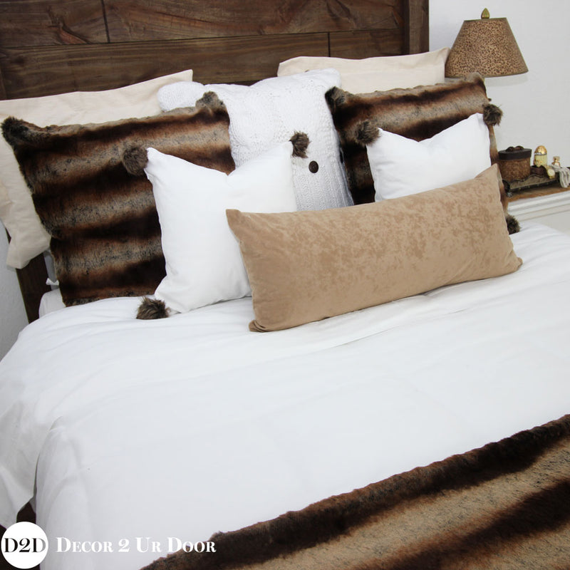 Brown Fur Euro Pillow Cover