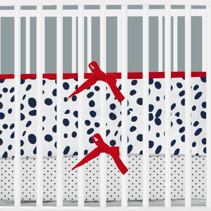 Navy & White Dalmatian Print 2-in-1 Crib Bumper/Rail Cover