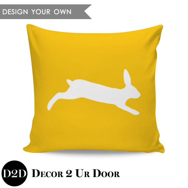 Easter Bunny Silhouette Square Throw Pillow Cover