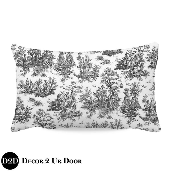 Shabby Chic Black & White Toile Lumbar Nursery Throw Pillow Cover