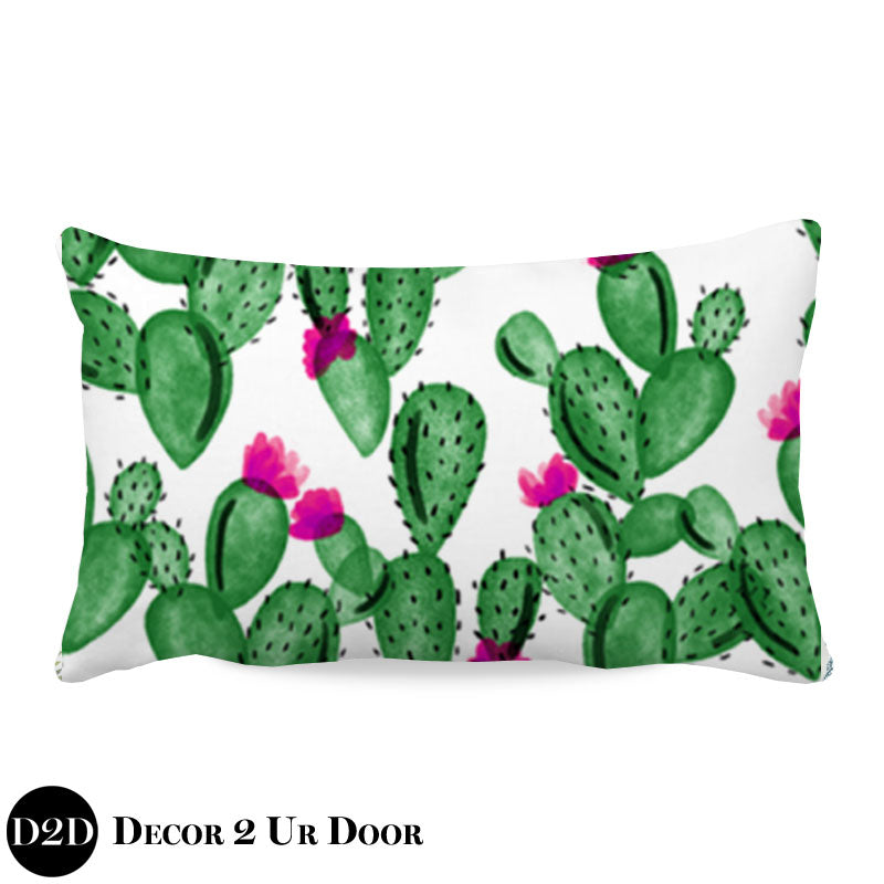 Watercolor Cactus and Hot Pink Lumbar Nursery Throw Pillow Cover