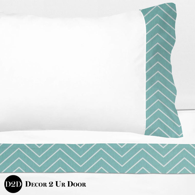 Canal Blue Chevron 100% Cotton Banded Sheet Set