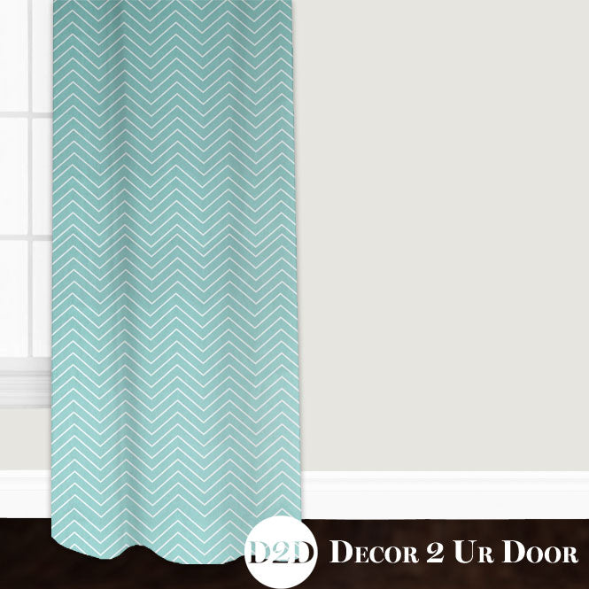 Canal Blue Chevron Closet + Window Curtain