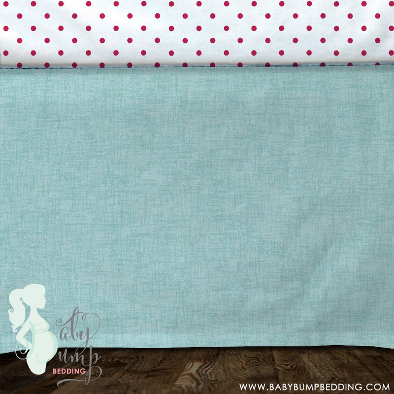 Canal Blue & Hot Pink Baby Crib Skirt