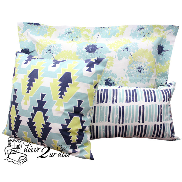 Canal Blue, Lime Green & Navy Floral Pop Dorm Bedding Set