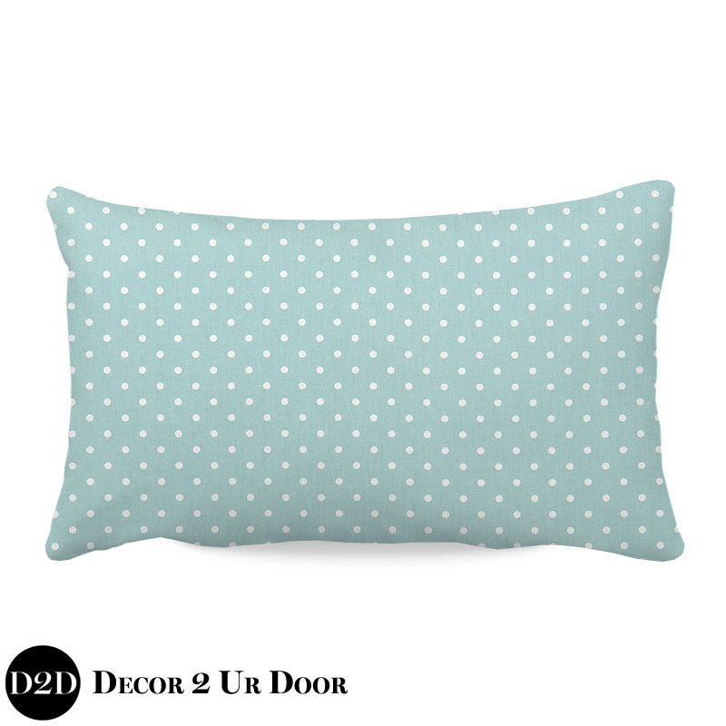 Canal Blue & White Polka Dots Lumbar Nursery Throw Pillow Cover