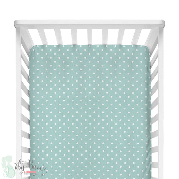 Canal Blue & White Dots Fitted Crib Sheet