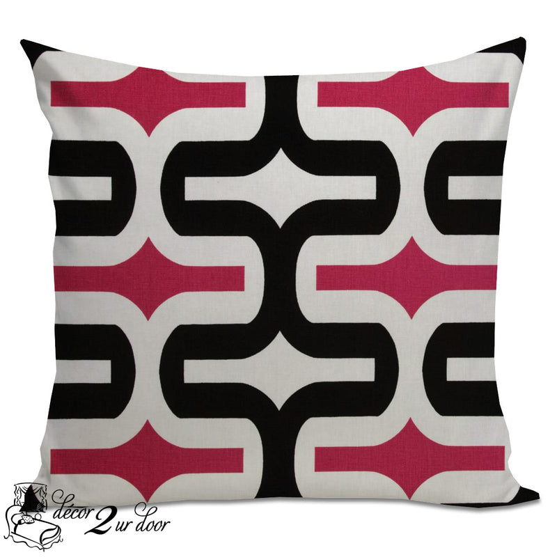 Candy Pink & Black Embrace Designer Euro Pillow Cover