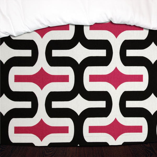 Candy Pink & Black Embrace Designer Dorm Bed Skirt