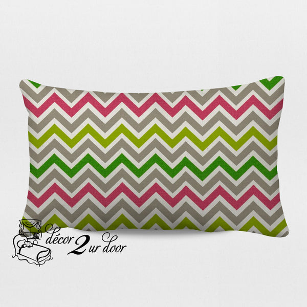 Candy Pink & Chartreuse Zoom Zoom Designer Lumbar Pillow Cover