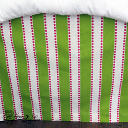 Candy Pink & Chartreuse Lulu Stripes Designer Dorm Bed Skirt