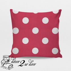 Candy Pink Polka Dots Square Throw Pillow Cover
