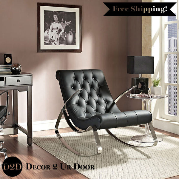 Modern Fancy Leather Rocking Chair