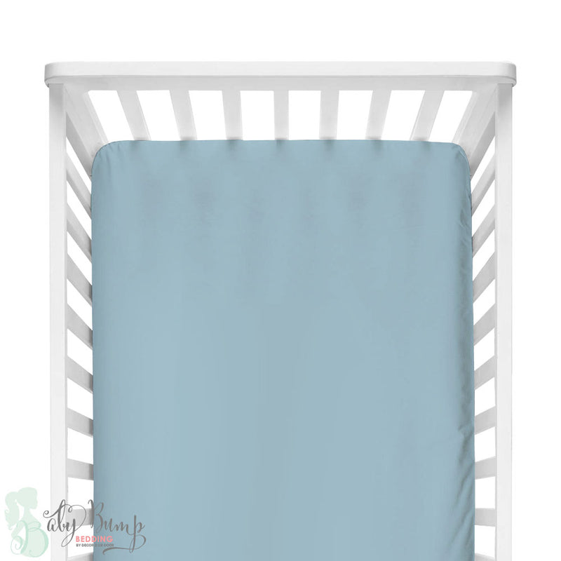 Solid Baby Blue Fitted Crib Sheet