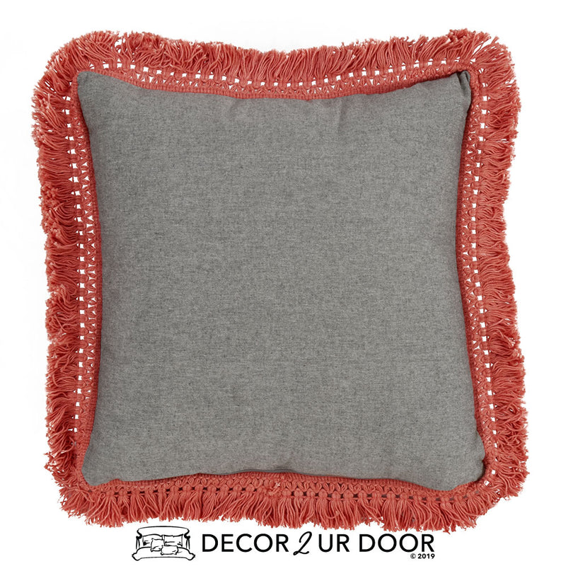Chambray & Coral Fringe Square Pillow Cover