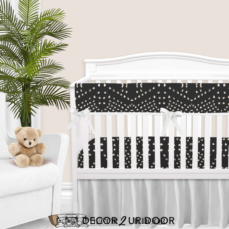 Charcoal Boho Tile 2-in-1 Crib Bumper/Rail Cover