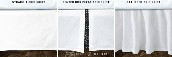 White & Charcoal Boho Tile Baby Crib Skirt