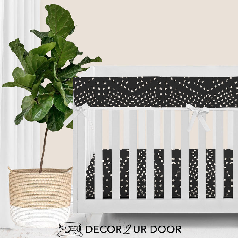 Charcoal Boho Tile Baby Crib Rail Cover