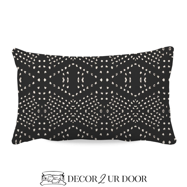 Charcoal Boho Tile Lumbar Nursery Throw Pillow Cover