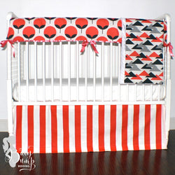 Salmon and Charcoal Gray Gender Neutral Baby Crib Bedding Set