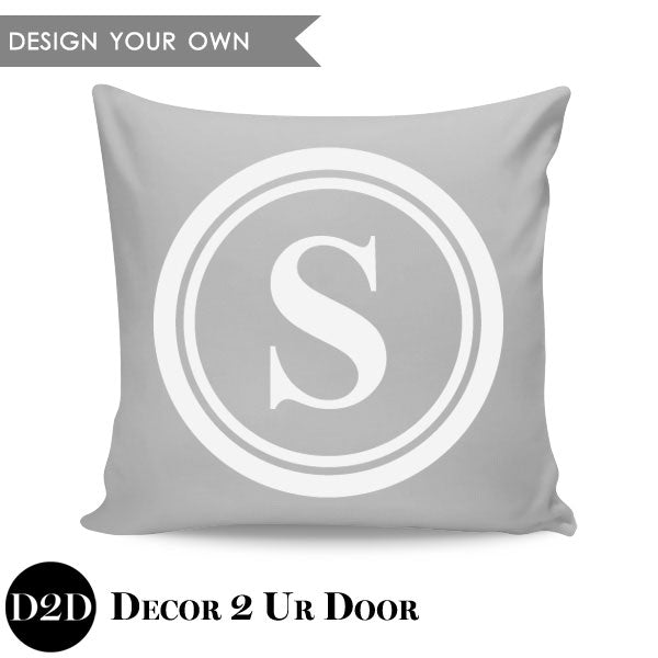 Double Circle Border Monogram Square Personalized Pillow Cover