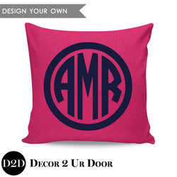Circle Border Monogram Square Personalized Pillow Cover
