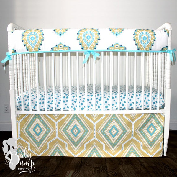 Coastal Blue & Yellow Gender Neutral Baby Crib Bedding